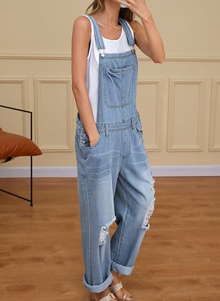 Casual Straight High Waist Polyester Jumpsuits Jeans (1523851)