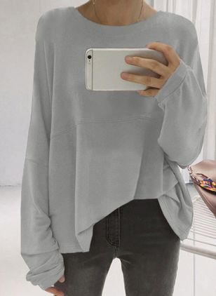 Solid Boat Neckline Long Sleeve Blouses