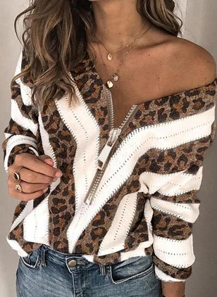 Round Neckline Leopard Casual Loose Regular Zipper Sweaters (127657522)