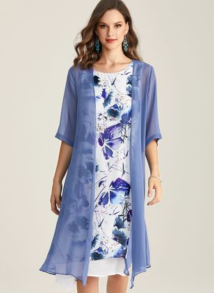 Casual Floral Round Neckline Midi X-line Dress (1339666)
