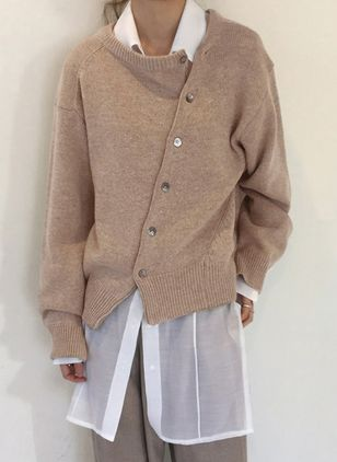 Round Neckline Solid Loose Regular Buttons Shift Sweaters