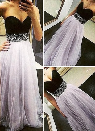 Solid Beading Strapless Neckline Maxi Bodycon Dress