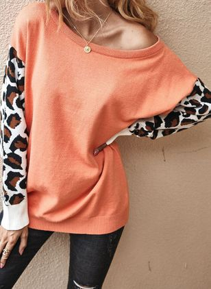 Round Neckline Leopard Casual Loose Regular Shift Sweaters (6211446)
