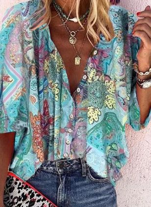 Floral Casual V-Neckline 3/4 Sleeves Blouses (4074490)
