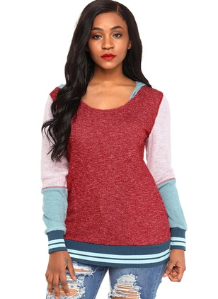 Color Block Casual Polyester Hooded Sweatshirts