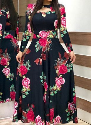 Casual Floral Round Neckline Maxi X-line Dress (6211713)