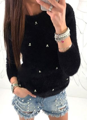 Casual Loose Regular Shift Sweaters (146655423)