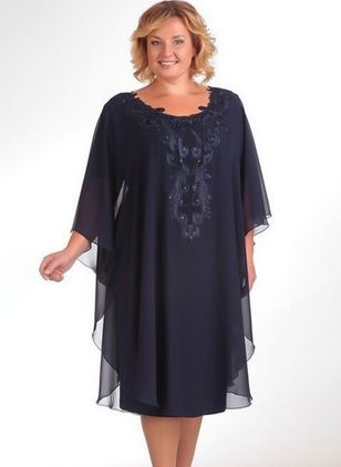 Plus Size Solid 3/4 Sleeves Midi Shift Dress