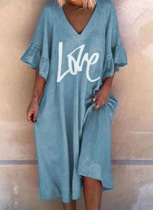 Casual Alphabet Tunic V-Neckline A-line Dress (4180645)