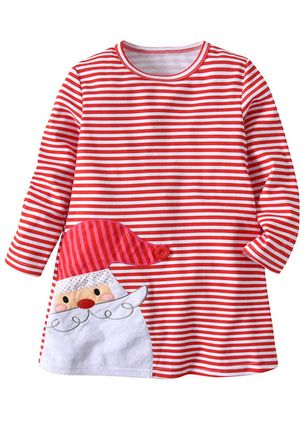 Girls' Cute Stripe Christmas Long Sleeve Dresses