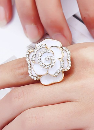 Floral Crystal Rings Single