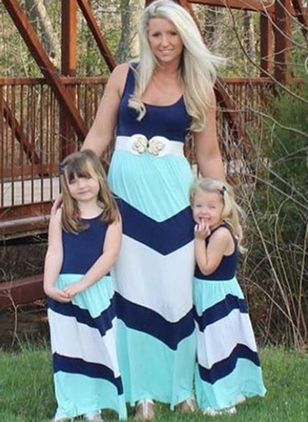 Mommy and Me Color Block Casual Sleeveless Family Outfits (1529574)