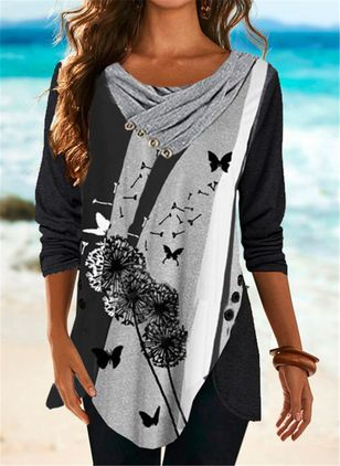 Floral Round Neck Long Sleeve Casual T-shirts (146723179)