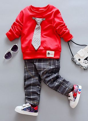 Boys' Casual Plaid Going out Long Sleeve Clothing Sets