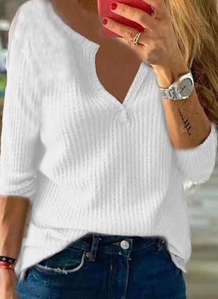 V-Neckline Solid Casual Loose Regular Shift Sweaters (107519791)