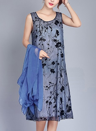 Floral Wrap Sleeveless Knee-Length Shift Dress
