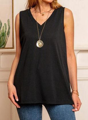 Solid V-Neckline Sleeveless Casual T-shirts (4073690)