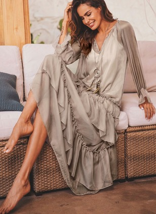Solid Ruffles Long Sleeve Maxi A-line Dress