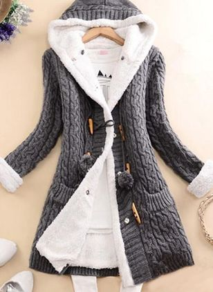 Long Sleeve Hooded Buttons Pockets Coats (122029385)