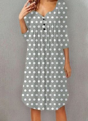 Casual Polka Dot Tunic V-Neckline Shift Dress (4210081)