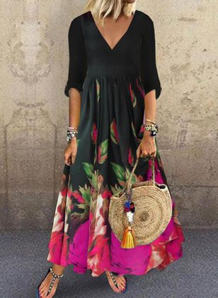 Casual Floral V-Neckline Maxi Shift Dress (146950088)