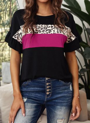 Leopard Round Neck Short Sleeve Casual T-shirts (147017691)
