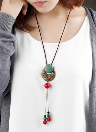 Round Gemstone Pendant Necklaces (1183856)