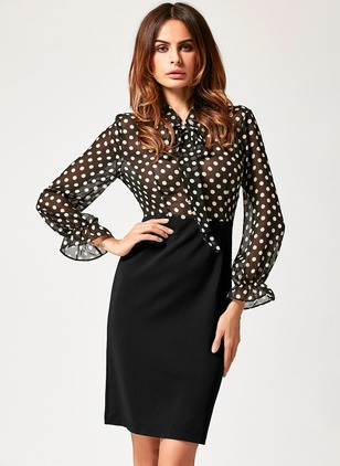 Polka Dot Long Sleeve Knee-Length Sheath Dress