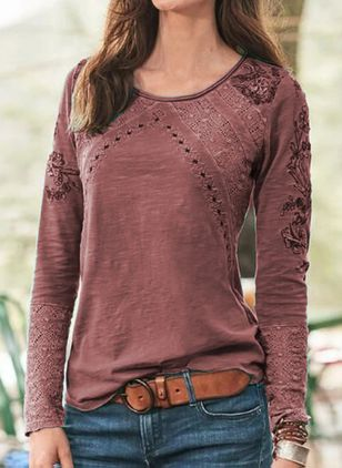 Solid Round Neck Long Sleeve Casual T-shirts (122029830)