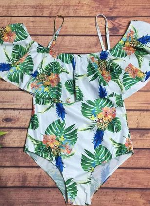 Polyester Floral One-piece Swimwear (148012679)