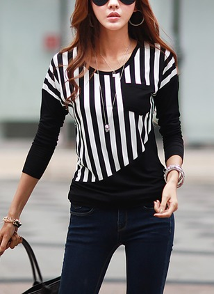 Cotton Stripe Round Neck Long Sleeve T-shirts