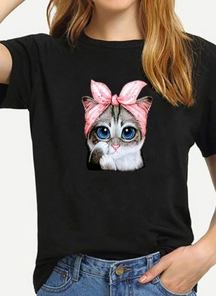 Animal Round Neck Short Sleeve Casual T-shirts (4072192)