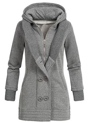 Long Sleeve Hooded Buttons Zipper Coats