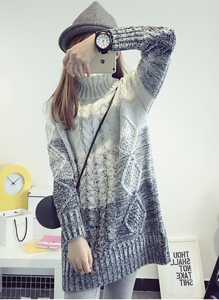 Wool Blends High Neckline Color Block Loose Others Sweaters