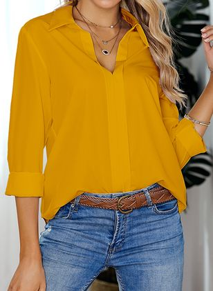 Solid Casual Collar Long Sleeve Blouses (1451342)