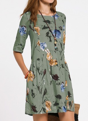 Casual Floral Others Round Neckline X-line Dress (1101946)