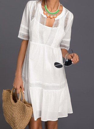 Cotton Geometric Beading Short Sleeve Shift Dress