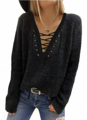 V-Neckline Solid Casual Regular Shift Sweaters (146704058)