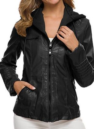 Long Sleeve Hooded Zipper Pockets Coats (146678765)