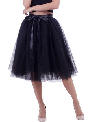 Solid Knee-Length Vintage Sashes Skirts