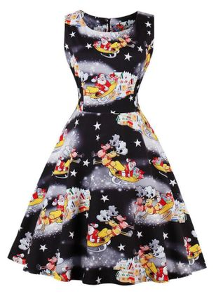 Floral Sleeveless A-line Dress