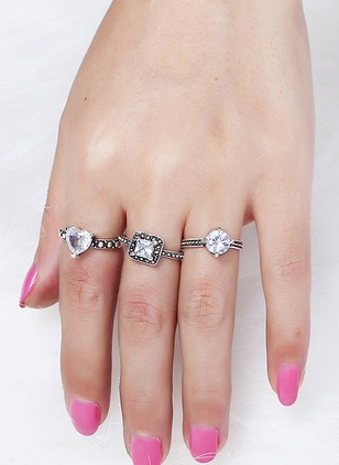 Geometric Heart Round Crystal Rings 3pcs
