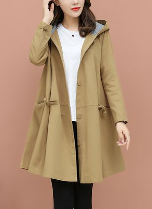 Long Sleeve Hooded Sashes Pockets Coats
