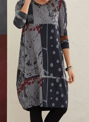 Casual Polka Dot Tunic Round Neckline A-line Dress (101986624)