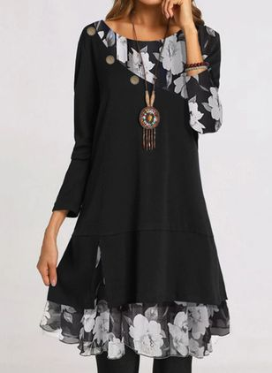 Casual Floral Round Neckline Above Knee Shift Dress (112237431)