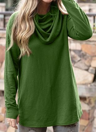 Solid Draped Neckline Long Sleeve Casual T-shirts (107804974)
