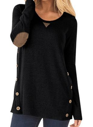 Round Neckline Color Block Casual Loose Regular Buttons Sweaters (101399111)