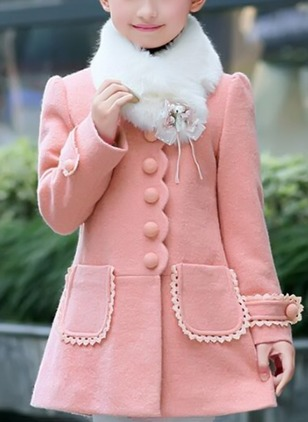 Girls' Solid High Neckline Coats