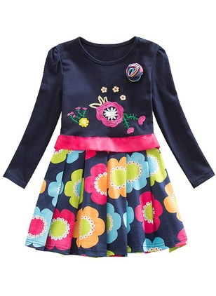 Girls' Floral Daily Long Sleeve Dresses