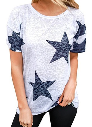 Cotton Geometric Round Neck Short Sleeve T-shirts